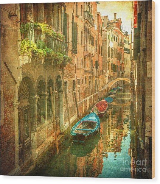 Vintage Image Of Venetian Canals Wood Print