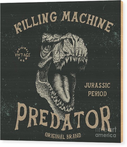 Vintage Label With Dinosaur With Wood Print