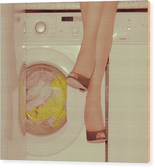 Vintage Laundry Wood Print by © Angie Ravelo Photography
