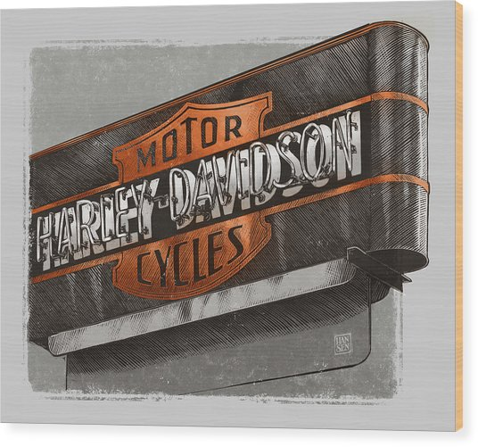 Wood Print featuring the drawing Vintage Motorcycle Shop by Clint Hansen