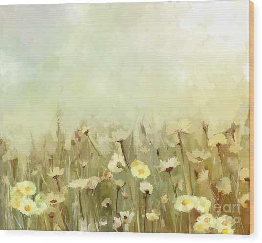 Vintage Oil Painting Daisy-chamomile Wood Print