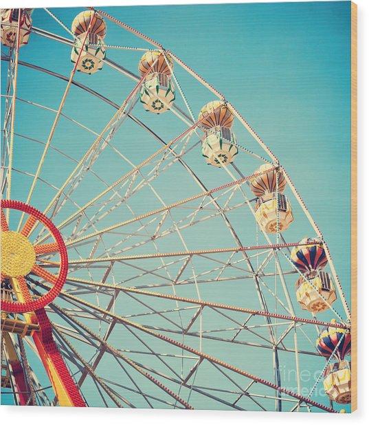 Vintage Retro Ferris Wheel On Blue Sky Wood Print