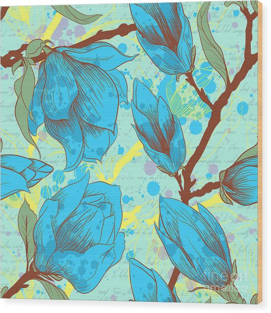 Vintage Seamless Pattern With Magnolia Wood Print by Elena Eskevich