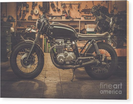 Vintage Style Cafe-racer Motorcycle In Wood Print