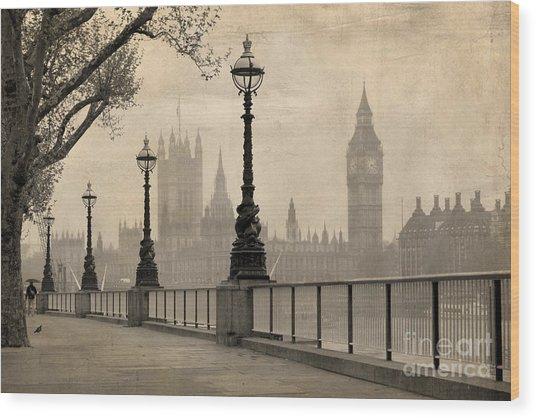 Vintage View Of London,  Big Ben & Wood Print