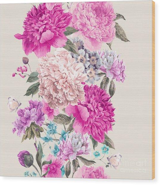 Vintage Watercolor Vector Floral Wood Print