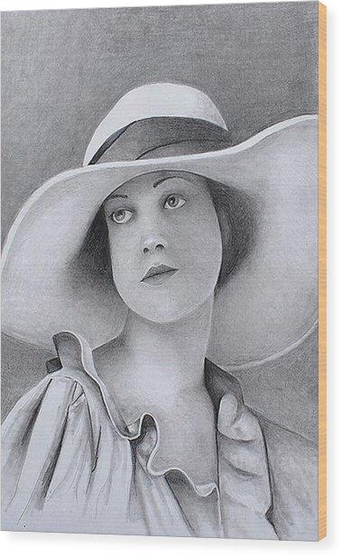 Vintage Woman In Brim Hat Wood Print