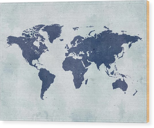 Vintage World Map Wood Print by Yorkfoto