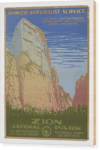 Vintage Zion Travel Poster Wood Print