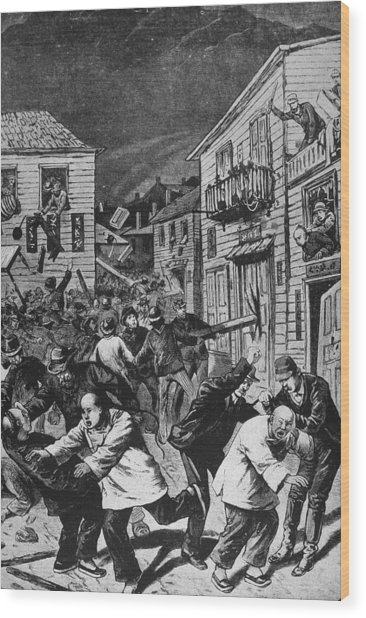 Violence Against Chinese Workers, Co Wood Print by Kean Collection