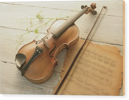 Violin And Music Sheet Wood Print by Image Work/amanaimagesrf