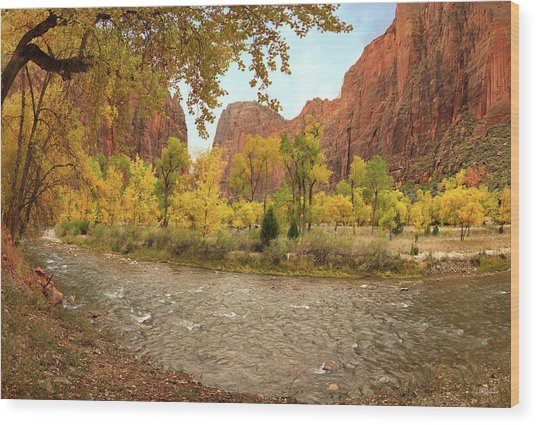 Virgin River Canyon In Autumn Wood Print by Leland D Howard