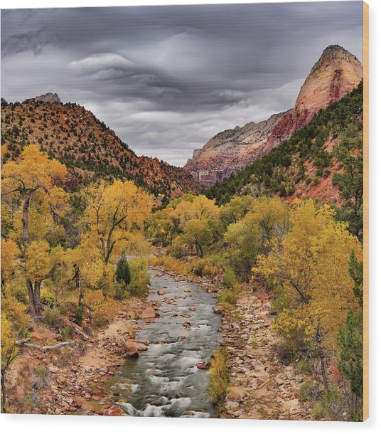 Virgin River Fall Wood Print by Leland D Howard