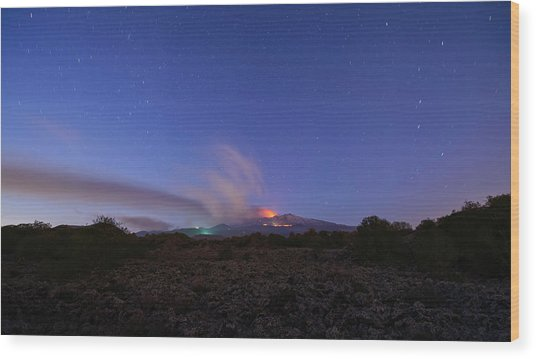 Volcano Etna Eruption Wood Print