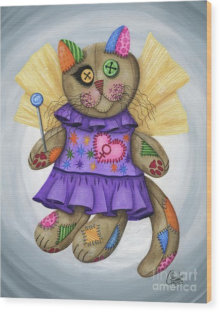 Voodoo Empress Fairy Cat Doll - Patchwork Cat Wood Print