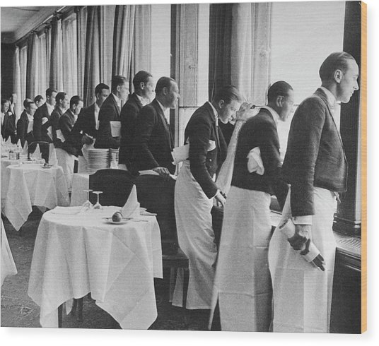 Waiters In The Grand Hotel Dining Room L Wood Print by Alfred Eisenstaedt