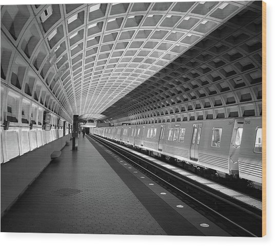 Waiting At Pentagon City Station Wood Print