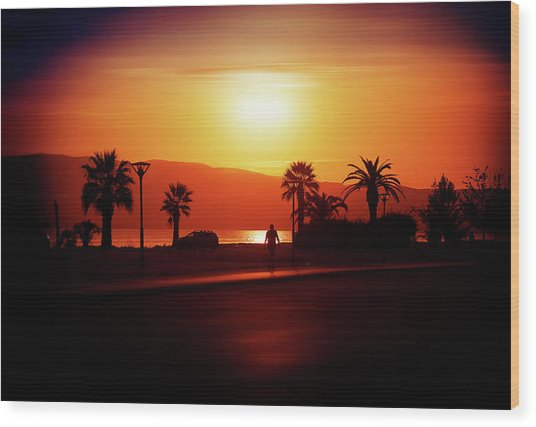 Wood Print featuring the photograph Walking Down The Street On Sunset by Milena Ilieva