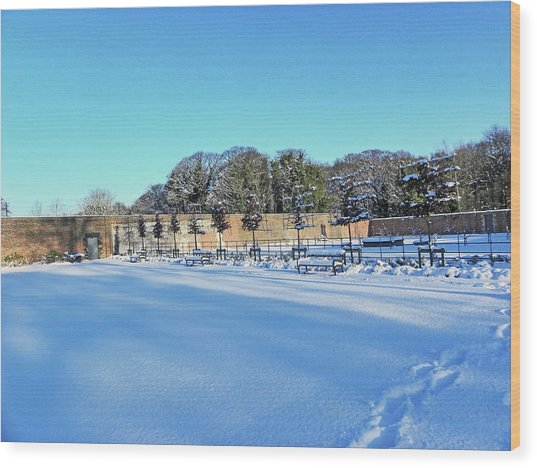 Walled Garden In The Snow Wood Print