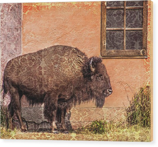 Wallpaper Bison Wood Print