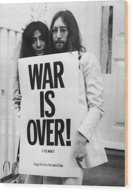 War Is Over Wood Print by Frank Barratt
