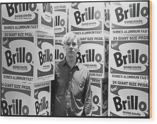Warhol & Brillo Boxes At Stable Gallery Wood Print by Fred W. McDarrah