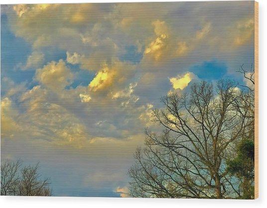 Warm And Cool Sky Wood Print