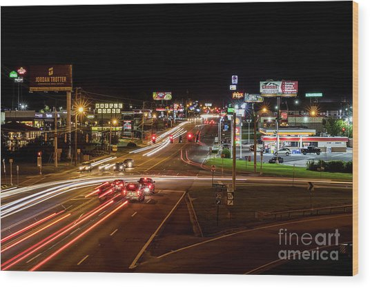 Washington Road At Night - Augusta Ga Wood Print