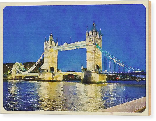 Water Color Tower Bridge London Wood Print