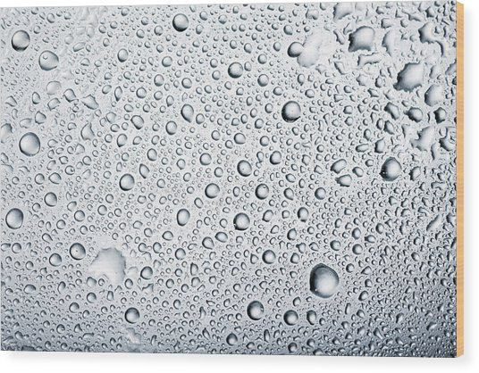 Water Drops Background Dew Condensation Wood Print