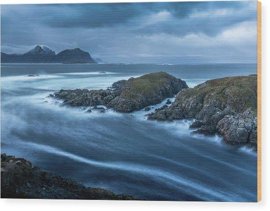 Water Flow At Stormy Sea Wood Print