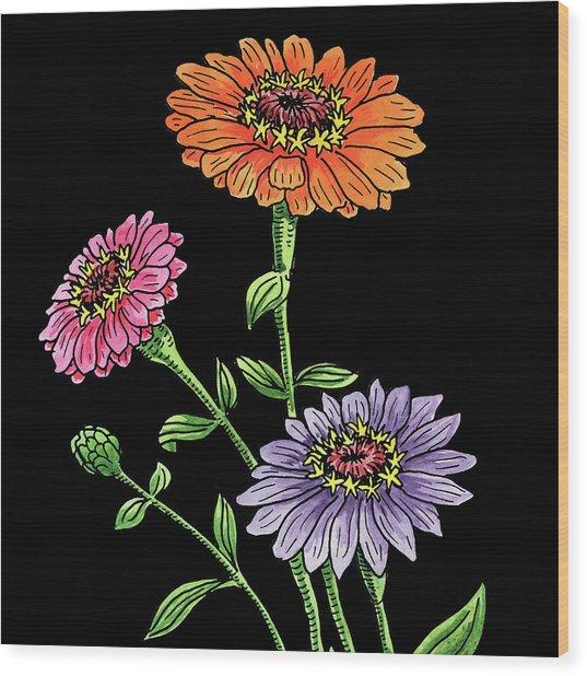 Watercolor Flowers Zinnia Wood Print