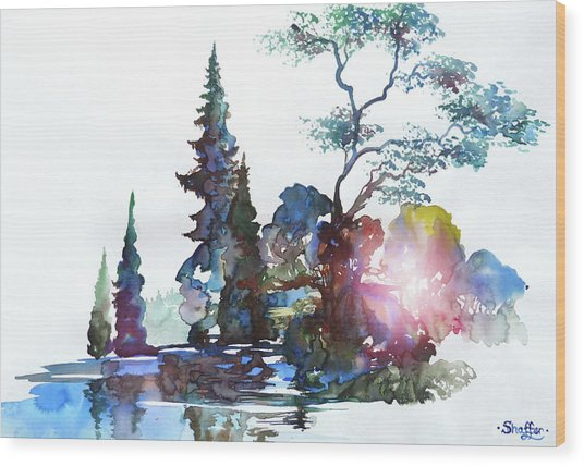 Watercolor Forest And Pond Wood Print