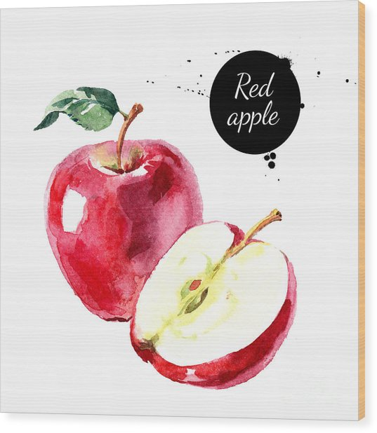 Watercolor Hand Drawn Red Apple Wood Print