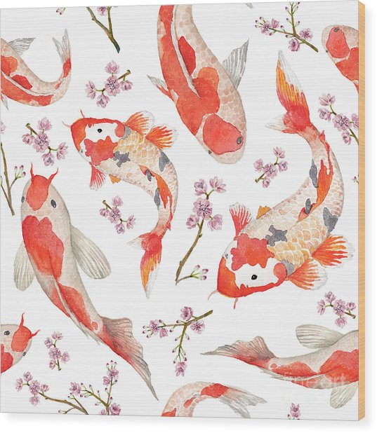 Watercolor Oriental Pattern With Wood Print