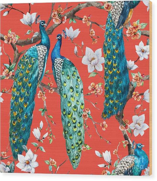 Watercolor Pattern Peacock Lover Wood Print