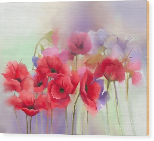 Watercolor Red Poppy Flowers Painting Wood Print
