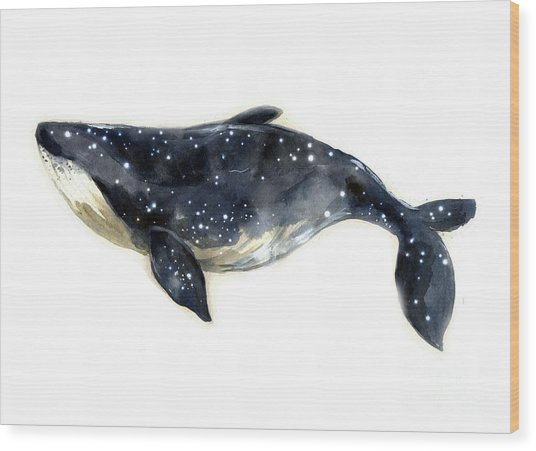 Watercolor Sketch Blue Whale Wood Print