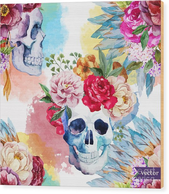 Watercolor, Skull, Flowers, Indian Wood Print by Anastasia Lembrik