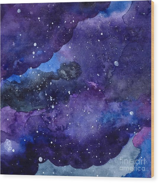 Watercolor Space Texture With Glowing Wood Print