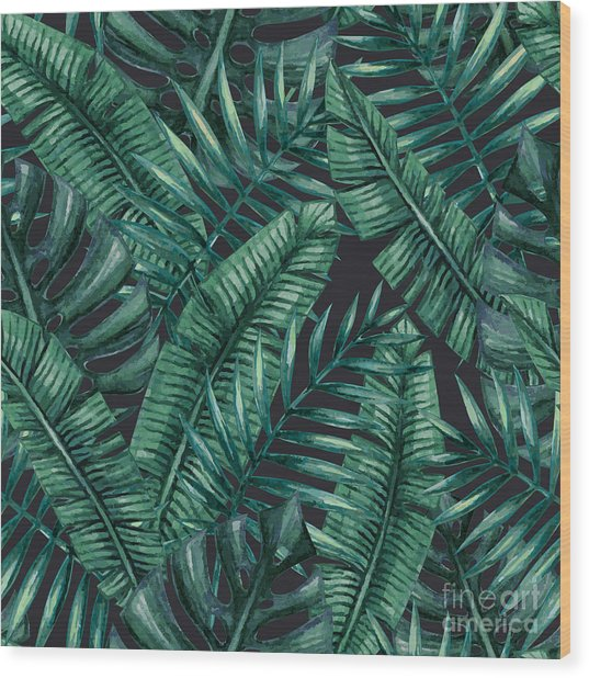 Watercolor Tropical Palm Leaves Wood Print