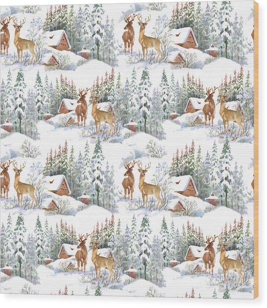 Watercolor Winter Landscape With Deers Wood Print