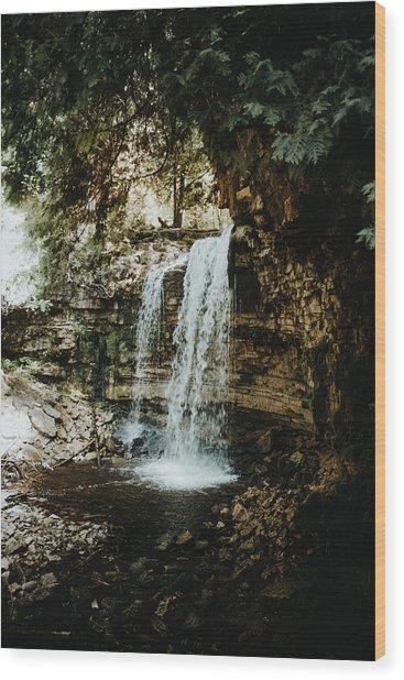 Waterfall Wood Print by Antonio Zarrillo