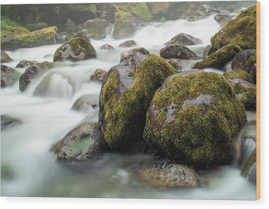 Waterfall, Bc, Canada Wood Print by Paul Souders