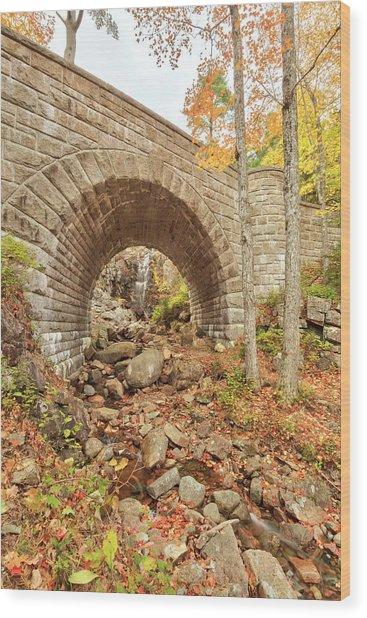 Waterfall Bridge, Autumn, Acadia Wood Print