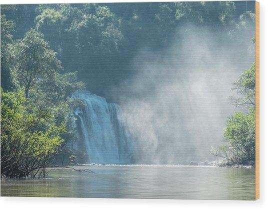 Waterfall, Sunlight And Mist Wood Print