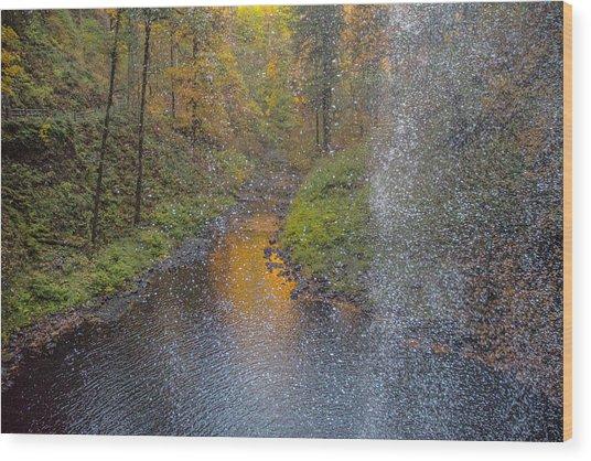 Waterfall Waterdrops Wood Print
