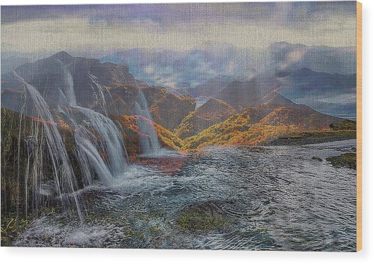 Waterfalls In The Mountains Wood Print