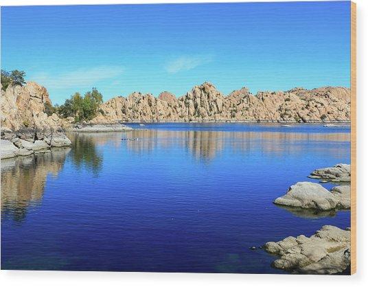 Watson Lake And Rock Formations Wood Print