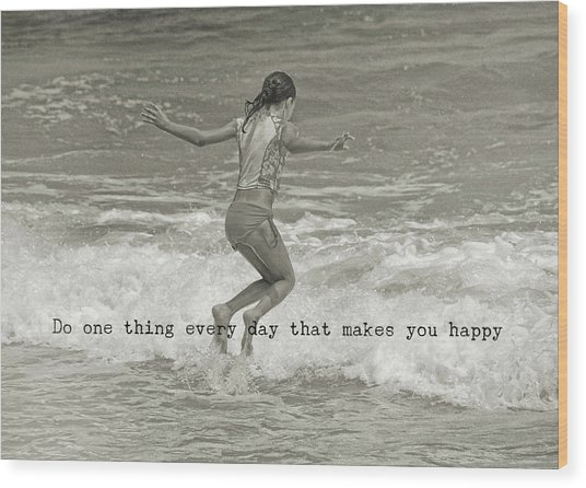 Wave Jump Quote Wood Print by JAMART Photography